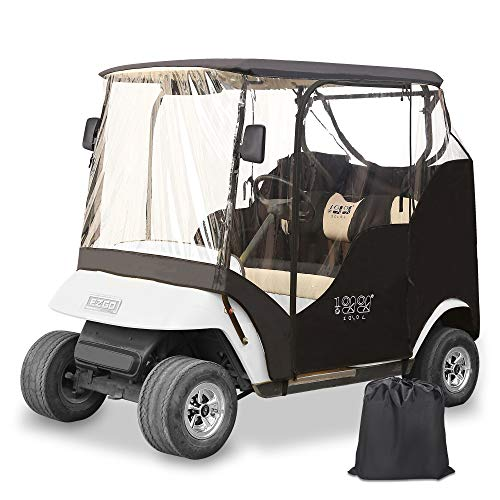 10L0L Golf Cart Enclosure 2 Passenger for EZGO TXT,Waterproof Portable Drivable Golf Cart Storage Cover,Travel 4-Sided Enclosure (Black/Transparent)