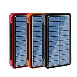 CDBK Chargeur Solaire sans Fil 100000mAh, Batterie Externe Solaire Portable Power Bank avec 5...