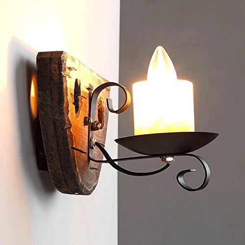 Neilyn Rétro Vintage Style Industriel Mur Lanterne Lampe Antique Créative Personnalité Bar Restaurant Allée Chambre Tête de lit Solide Bois Applique Murale Lumière