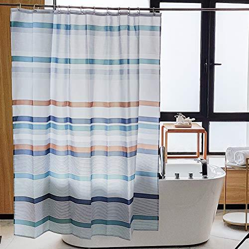 NTBAY Duschvorhang aus Stoff, wasserabweisend, dekorativer Vorhang für Badezimmer, Duschkabine, mehrfarbig gestreift, 183 x 183 cm