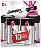 Energizer Max D Batteries, Premium Alkaline D Cell Batteries (4 Battery Count)