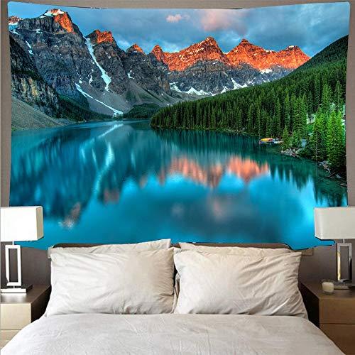 Animal bosque río paisaje barco tapiz arte psicodélico colgante de pared toalla de playa mandala manta tela colgante A1 73x95 cm