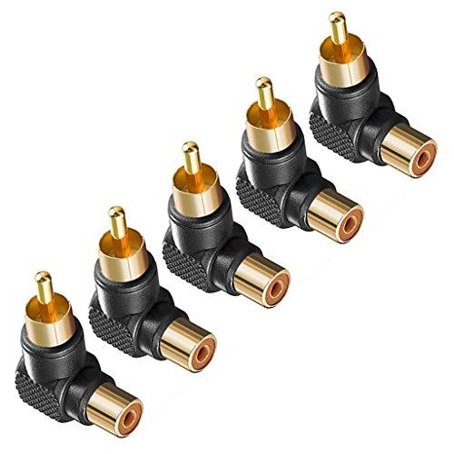 Générique 5pcs Adaptateurs Connecteurs Angle Droit RCA Mâle à Femelle 90 Degrés - Noir