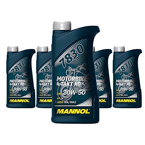 MANNOL 5 x 1L 7830 Motorbike 4-Takt HD API SL / 20W-50 Motorrad-oel