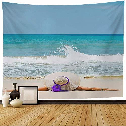 Tapiz Colgante de pared Sensual Naturaleza Mujer Bikini Viajes Resort Sombrero para el sol Playa tropical Bronceado Gente en forma Belleza Moda Sombrero Tapiz vintage para dormitorio Hogar Dormitorio