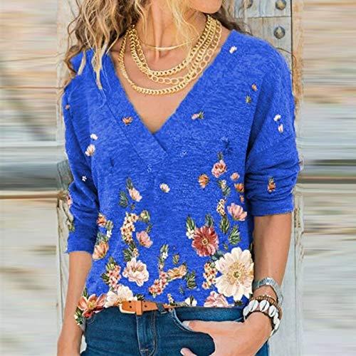 AITU Stickers Muraux Camiseta De Manga Larga,Cotton T Shirt Elasticity Women's Deep V Neck Shirt Tops Woman Elegant Printed Female Shirt Fall Retro Floral Long Sleeve Top Ladies Blouse Blue, 4XL