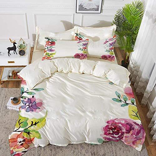 ropa de cama - Juego de funda nórdica, flor de acuarela, marco decorativo con rosas de verano y bordes naturales Illustrati, juego de funda nórdica de microfibra hipoalergénica con 2 fundas de almohad