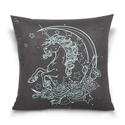 Chic Houses Unicornio cielo estrellado patrón cuadrado fundas de almohada fundas de almohada de algodón moderno personalidad mejor niños o bebé funda de almohada 2030089