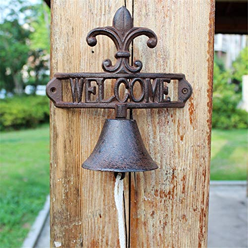 Vintage Bell Cast Iron Wandmontage Vintage Cast Iron Garden deurbel Wall Mounted Voordeur Bell voor Garden Farmhouse Yard (Color : Multi-colored, Size : Free size)