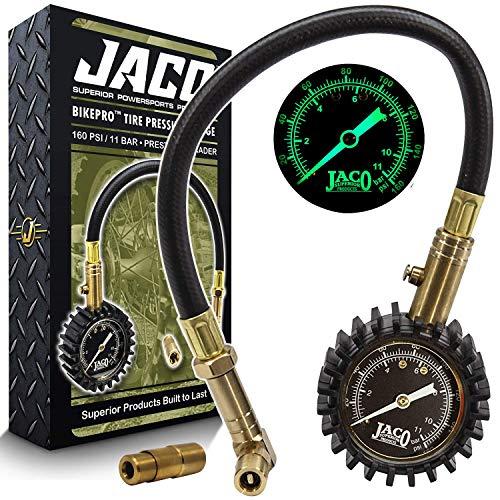JACO BikePro Presta Tire Pressure Gauge 160 PSI - with Interchangeable Presta and Schrader Valve Air Chucks - for Hybrid & Road Bikes (Renewed)