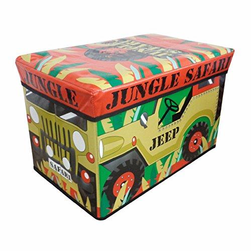 Jumbo Large Toy Boxes Laundry Kids Childrens Storage Chest with Padded Lid (Jungle Safari Jeep) by Country Club