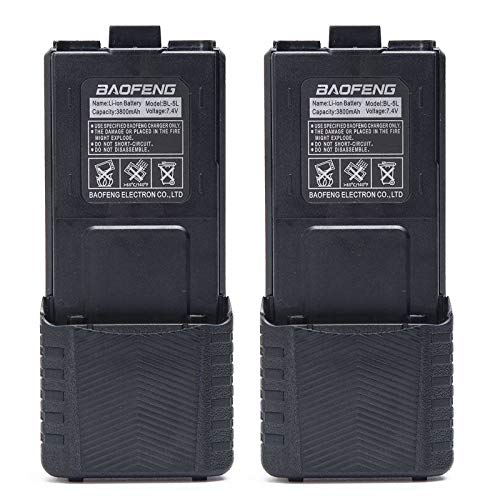 2pcs Original Baofeng 3800mAh Li-ion Battery High Capacity Big Spare Battery for Baofeng Two Way Radio DM-5R UV-5R UV-5RE Plus BF-F8HP UV-R3 Serie (2, Black)