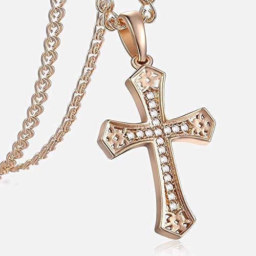 NC110 Crucifix Cross Pendant Necklace for Women Men Rose Gold Snail Link Chain Cross Necklace Fashion GP176