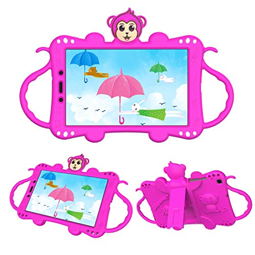 Tading Kids Case Compatible with Samsung Galaxy Tab A 8.0 2019 SM-T290/T295, Children Friendly Silicone Rubber Protective Handle Stand Cover with Shoulder Strap - Cute Cartoon Monkey, Hot Pink