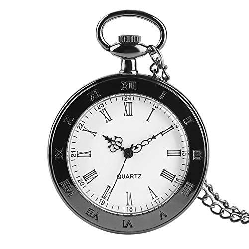 LOOMUCI Reloj de Bolsillo Números Romanos clásicos Reloj de Bolsillo Reloj de Cuarzo para Hombres Mujeres Moda Antigua Collar con Colgante de Cara Abierta Reloj Regalos Niños