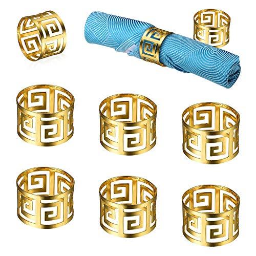 ASFINS Serviettenringe Gold, 8 Stück Serviettenhalter Metall Serviettenschnallen für Hochzeit Geburtstag Weihnachten Taufe Tisch Dekoration