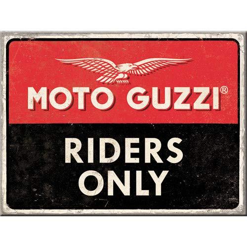 Nostalgic-Art Moto Guzzi – Riders Only imán, imán Potente con Superficie de Metal, Multicolor, 6 x 8 cm