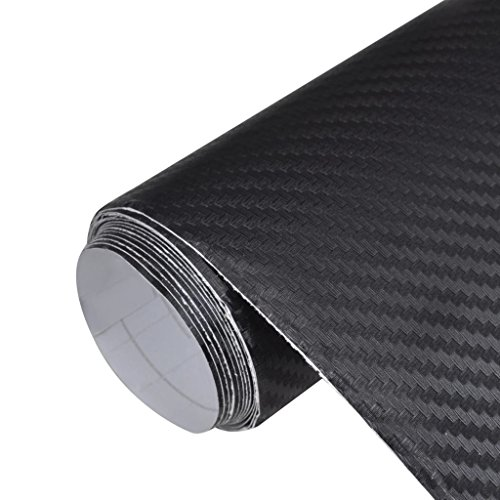 Daonanba Film de Voiture de Fibre de Carbone 152 x 200 cm, Noir PVC environnemental imperméable