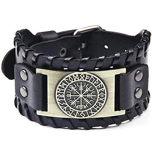SPARKX Antique Herren Schwarzes Leder Manschette Armband, Leder Armband Pirat Klassische Elemente Vintage Kompass Muster Armband,Bronze