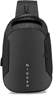Mens Sling Chest Bag Waterproof Business Backpack,Multifunctional Outdoor Travel Bag (Color : Black, Size : M)