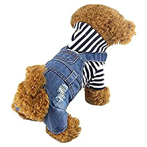 DOGGYZSTYLE Pet Dog Cat Clothes Blue Striped Jeans Jumpsuits One-Piece Jacket Costumes Apparel Hooded Overalls Hoodie Coats for Small Puppy Medium Dogs (M, Blue)