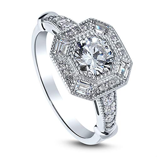 BERRICLE Rhodium Plated Sterling Silver Art Deco Milgrain Halo Wedding Engagement Ring Made with Swarovski Zirconia Octagon Sun Cut 1.8 CTW Size 7