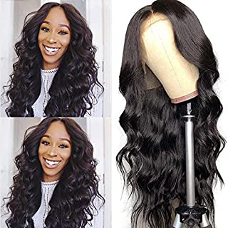 Helene Lace Front wigs Natural Water Wave Black Synthetic Lace Front Wig Natural Hairline Heat Resistant Fiber Lace Wigs For Women (24Inch Black Color)