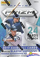 2019 Panini Prizm Baseball EXCLUSIVE Factory Sealed Retail Box with 24 Cards! Includes SPECIAL EXCLUSIVE PURPLE PRIZM PARALLELS that can ONLY Be Found in this Box! Look for Autographs of Vladimir Guerrero Jr, Aaron Judge, Fernando Tatis Jr & More! Lo...