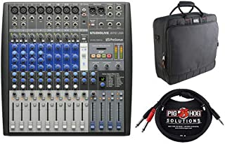 PreSonus StudioLive AR12 USB 14-Channel Recording Mixer with G-MIXERBAG-1818 Padded Nylon Mixer Bag & PB-S3410 3.5 mm Stereo Cable, 10 feet Bundle