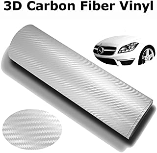 DIYAH 3D White Carbon Fiber Film Twill Weave Vinyl Sheet Roll Wrap DIY Decals 12