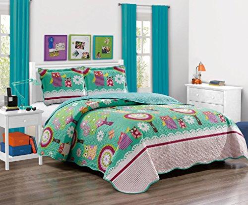 K&M MK Home Mk Collection Tagesdecke für Teenager/Mädchen, Eulenmotiv, Grün/Aqua, Mikrofaser, Rose, Twin
