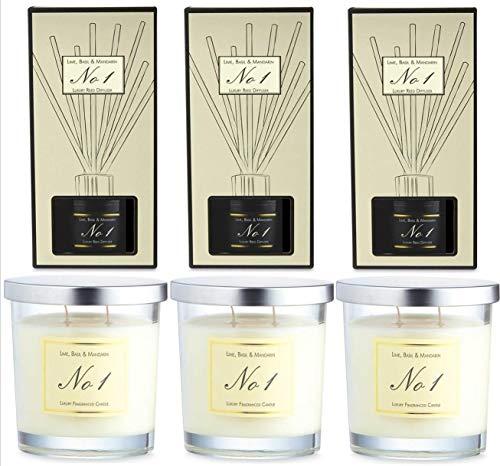 Aldi No 1 Lime Basil & Mandarijn 3 Luxe Geurkaars 3 Reed Diffuser Sets (6 Pack)