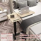 Stahlrohr Beistelltisch Hoch mit Gelbes Massivholzbrett,Höhenverstellbar, Rollen, USB, Drehbar,Laptop Tisch Für Bett für Diejenigen, Die Auf Das Bett Beschränkt Sind Und Im Ganzen Haus Verwendet Werd