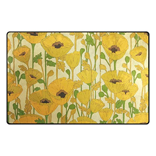 MALPLENA Gelbes Blumenmuster Teppich Einstieg Fußmatte Fußmattenbereich Teppich Fußmatten Gelbes Blumenmuster Schuhe Schaber für Wohnzimmer/Esszimmer/Schlafzimmer/Küche rutschfest