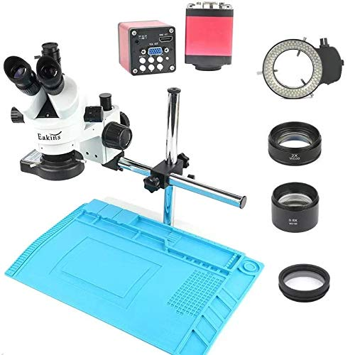 RYRYBH5234 Industry 3.5X-90X Simul-Focal Trinocular Stereophony Microscope VGA HDMI Video Camera 720P 13MP for Phone PCB Soldering Repair Lab