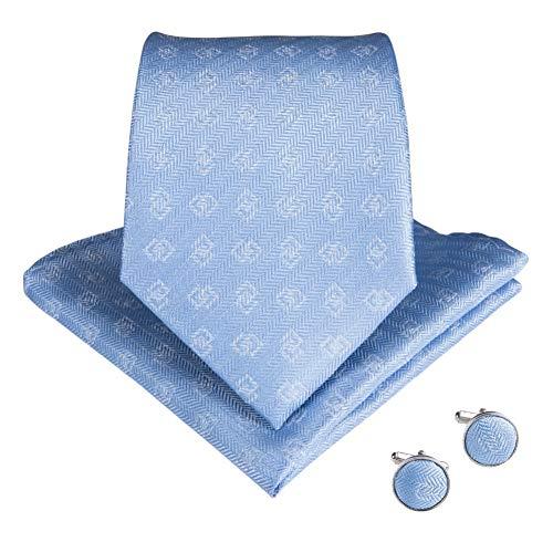 KYDCB Nouvelle Arrivée Bleu Clair Mens Cravates Pochette De Poche Set Cravates Cravate en Soie Cravate Gravatas Cravate pour Le Mariage