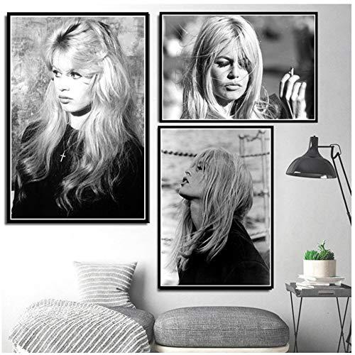 Actriz estrella de cine modelo negro lienzo blanco lienzo póster impresiones arte pared cuadros sala de estar decoración del hogar -50x70cmx3pcs sin marco