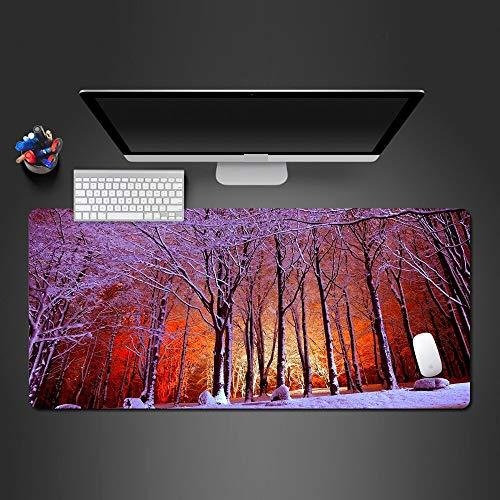 Iluminación Snow Forest Alfombrilla de Ratón Alfombrilla de Goma Antideslizante Lavable Grande Alfombrilla de Mesa Juego de Computadora Portátil Alfombrilla de Ratón 1000X500X3Mm