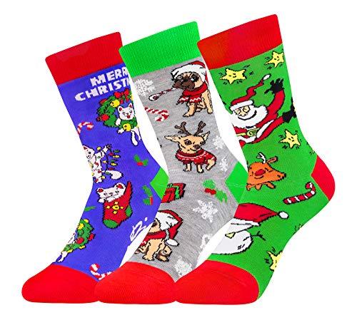 Kids Boys Girls Christmas Novelty Funny Socks Crazy Cotton Colorful Cute Stockings (Christmas)