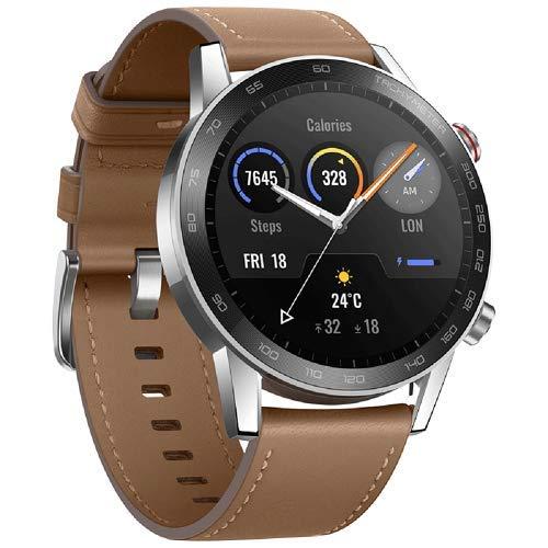 Honor Smartwatch Magic Watch 2 46mm Fitness-Aktivitätstracker mit Eingebautem Lautsprecher und Mikrofon, GPS, 14 Tage im Standby, 5 ATM wasserdichtfür Sehen für Mann Frauen, Braun