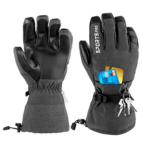Winter Ski Gloves,Waterproof Warm Snow Gloves with Touchscreen Cold Weather Gloves for Winter Sport Work Men and Women (M)