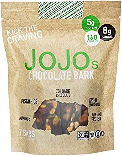 JOJO's Guilt Free Dark Chocolate | 7 Bars | Keto, Vegan and Paleo Friendly, Non GMO Gluten Free Healthy Snacks, Low Sugar Chocolate with Plant Based Protein, Raw Nuts + Dried Fruit | 8.4oz Bag