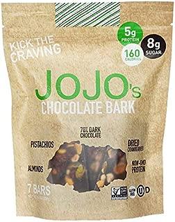 JOJO's Guilt Free Dark Chocolate | 7 Bars | Keto, Vegan and Paleo Friendly, Non GMO Gluten Free Healthy Snacks, Low Sugar Chocolate with Plant Based Protein, Raw Nuts + Dried Fruit | 8.4oz Bag