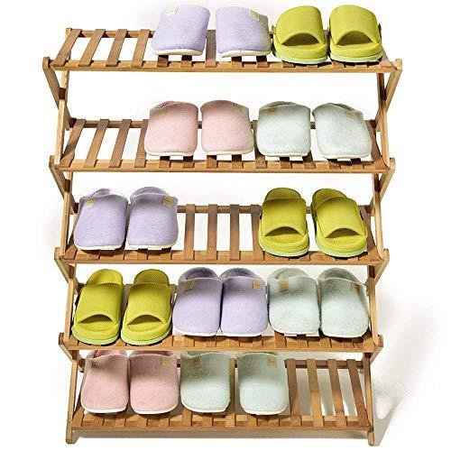 GENFALIN Bastidores del Zapato Plegable de Madera del Zapato Rack - 5 Nivel Simple Adecuado for el Corredor Pasillo Ahorro de Espacio Fácil Ensamble Ahorro de Espacio (Color: Natural, tamaño: 68 * 26
