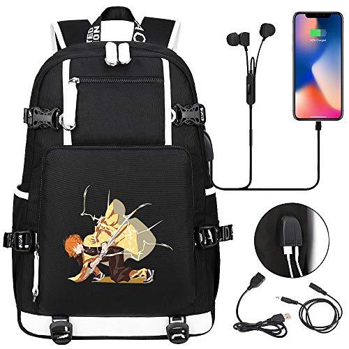 LKKOY Demon Slayer: Kimetsu no Yaiba Laptop Backpack Business Travel Backpack Bag with Lock with USB Charging & Headphone Port for Unisex Anime Movie USB Backpack with Charging Port Black