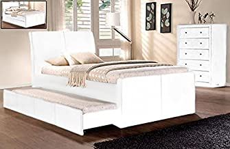 Istyle Lecca King Single Trundle Storage Bed Frame Pu Leather White
