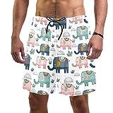Troncos de natación para hombre cortos de tela de secado rápido con forro de malla de moda, vuelcos de moda de Navidad, flamenco, árbol de Navidad, copo de nieve, Rosa Verde Navy Elephants Cactus 2, M