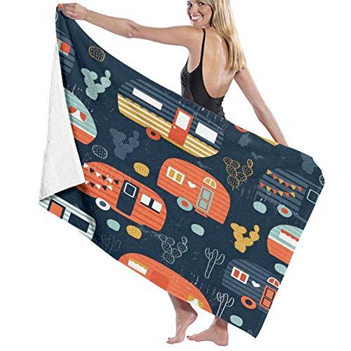 Blue Cactus Camping Navy Camper Camper Bann – Toalla rectangular para tomar el sol, playa, microfibra, toalla de baño, picnic, viaje, 80 x 130 cm