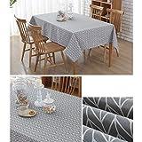 YISHU Abwaschbar Tischdecke Eckig Lotuseffekt Wasserdicht Segeltuch Tischtuch Fleckschutz Pflegeleicht Schmutzabweisend Tischwäsche grau 120 * 160cm - 2