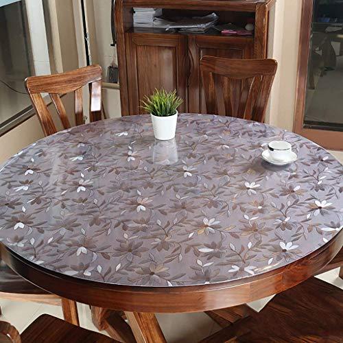 GPWDSN Runder, durchsichtiger Tischschutz aus Kunststoff, wasserdichter Vinyl-PVC-Tischtuchbezug rutschfeste, abwischbare Tischdecke für den Küchen-Desktop Pad-Blumendurchmesser: 60 cm (24 Zoll)